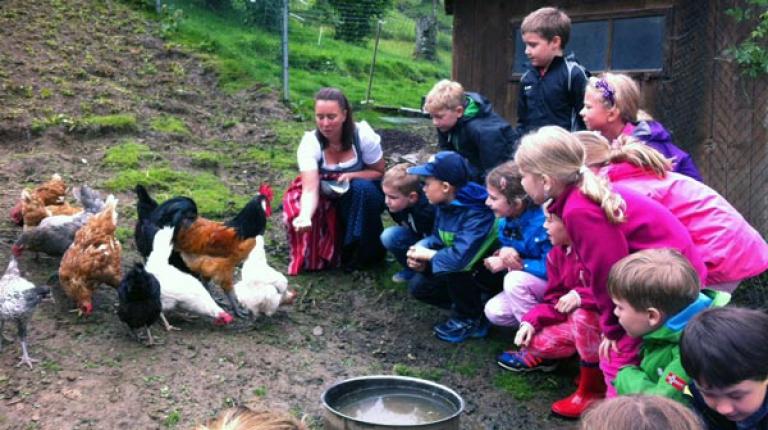 Die Kinder erkunden das Geflügel auf dem Bauernhof.