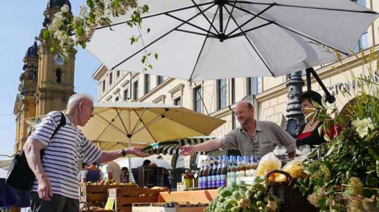 Kommenden Sonntag findet wieder die Bauernmarktmeile am Odeonsplatz statt.