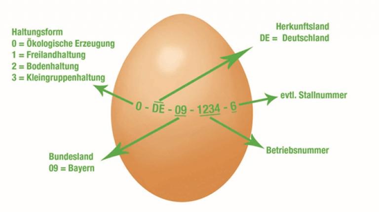 Die gut sichtbare Kennzeichnung auf jedem Ei gibt auf einen Blick Aufschluss darüber, woher das Ei kommt. Die erste Ziffer verrät das Haltungssystem, aus dem das Ei stammt.
