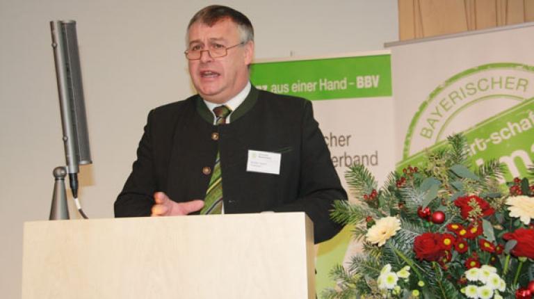 BBV-Präsident Heidl bei der Landesversammlung 2014.