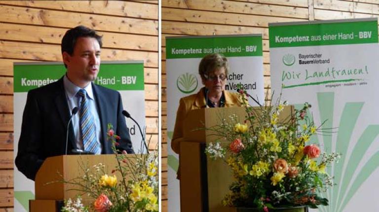 Bildungsstaatsekretär Georg Eisenreich sowie Landesbäuerin Anneliese Göller sprachen beim Kreisbäuerinnen-Seminar.