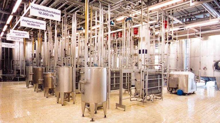 In der Molkerei wird die Rohmilch verarbeitet: zu Joghurt, Käse, Sahne und anderen Milchprodukten.
